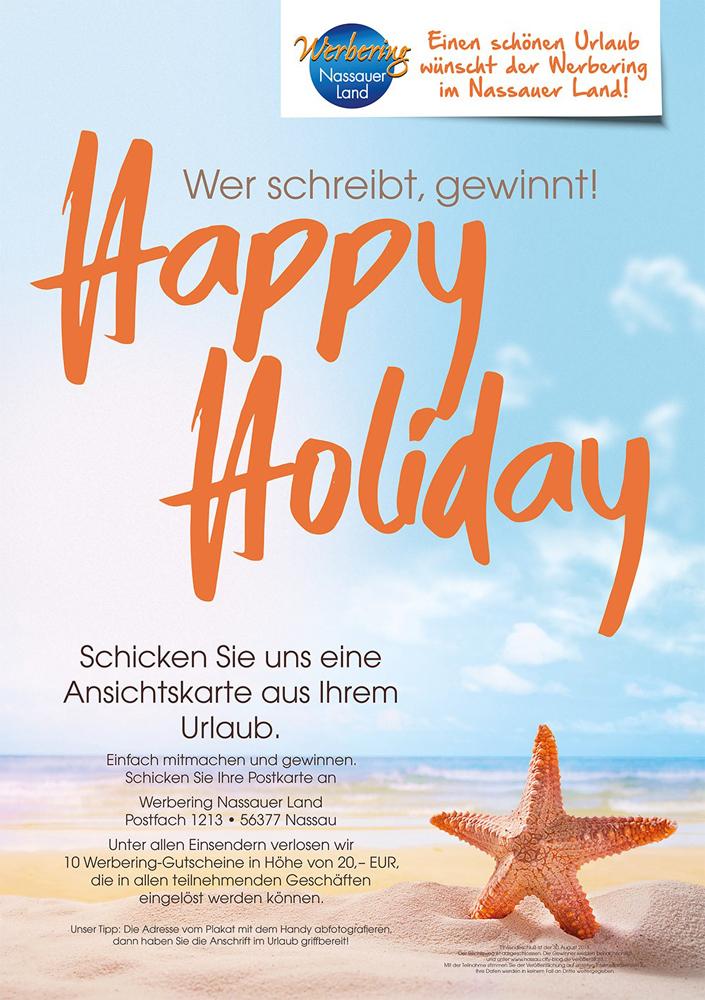 Happy Holiday, wer schreibt gewinnt